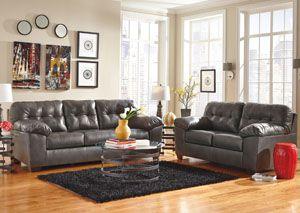 Ashley furniture - Jennifer Convertibles -Alliston Dura Blend Gray Sofa & Loveseat