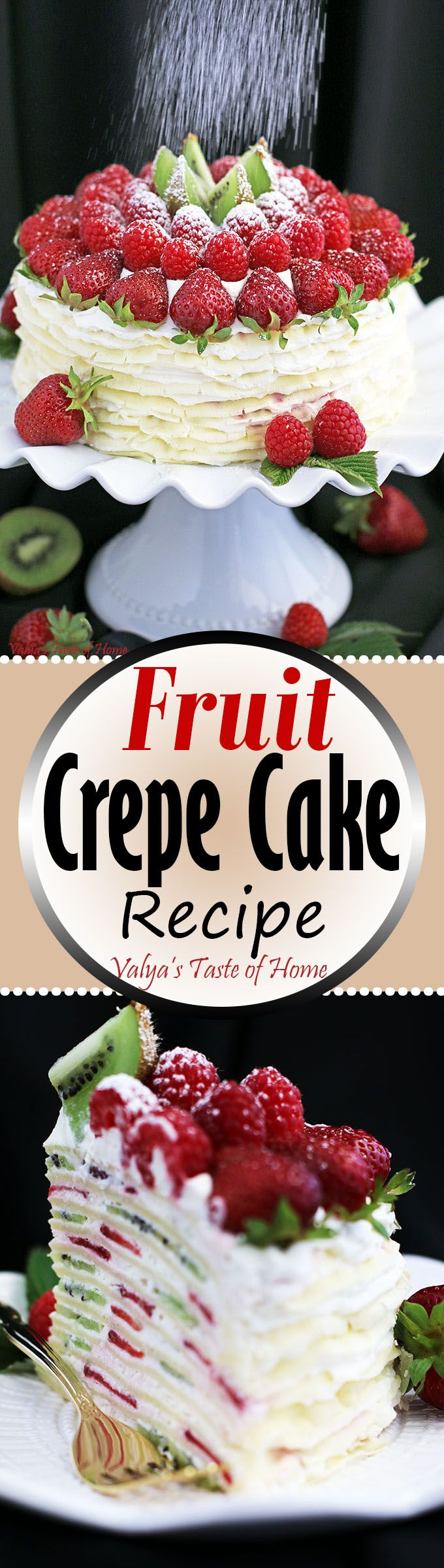 If Crepes with Cheese wasn't enough, here another fantastic dessert with crepes that is an absolute must-try. The experience of this Fruit Crepe Cake Recipe is almost tough to get across. The words delicate and delicious barely begin to describe this beautiful and elegant crepe cake. Its texture and flavors are incredibly light and gentle in taste. Loaded with fruit and cream, that perfectly go together, every bite just melts in your mouth and is thoroughly enjoyed.