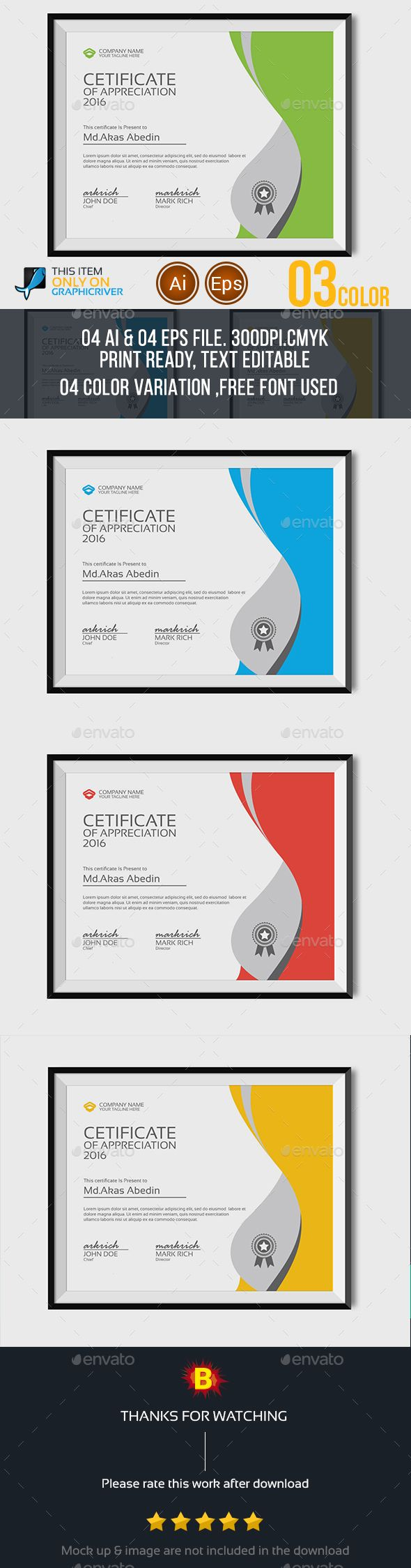 Certificate #Template - #Certificates #Stationery Download here:  https://graphicriver.net/item/certificate-template/13830747?ref=alena994
