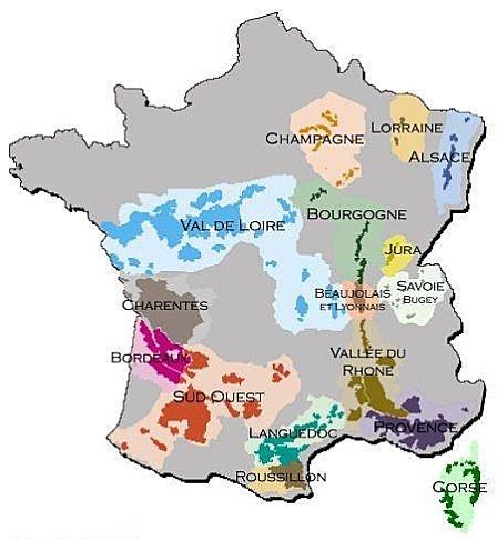 Carte des Cépages des vins de France et Appellations (AOC)