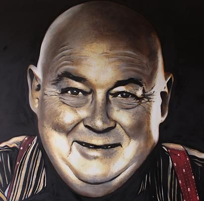 """2015 - SOLD """"A Good Bloke - Gordon Nelson"""" Oil on Canvas  www.newzealandmaoriart.com   The Artist spent over for months developing the artwork, he was provided a photo to work from, """"This was a special piece I spent a lot of time on, it was challenging to paint someone I hadn't met before"""" said the artist. Te Mete enlisted the help of family and friends of Gordon to build a feeling for who he was. """"it's one thing to paint something, it's another thing to inject life into it"""" said Te Mete"""