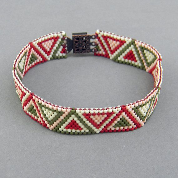 Thin peyote  bracelet  ethnic style beaded jewelry by Anabel27shop,