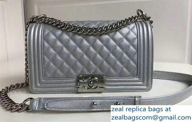 Chanel Medium Boy Flap Shoulder Bag in Lambskin Leather New Color Sliver