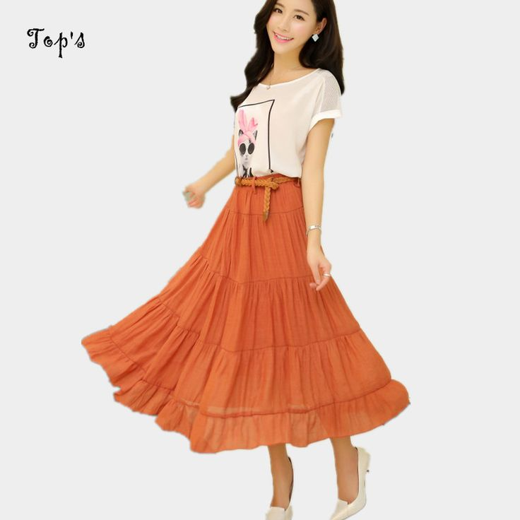 2016 New Arrival Woman Linen Cotton Skirt Wholesale Candy Color Beach Skirts With Belt Long Skirt Saias #Affiliate