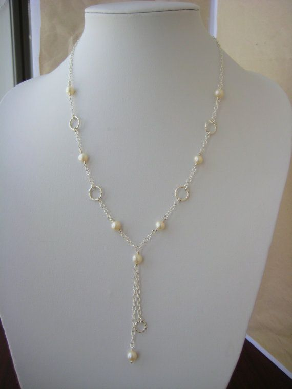Sterling Silver and Pearl Necklace Lariat by BeadBashStudio