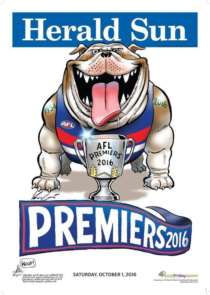 2016 AFL WESTERN BULLDOGS GRAND FINAL PREMIERSHIP POSTER MARK KNIGHT HERALD SUN #HERALDSUN