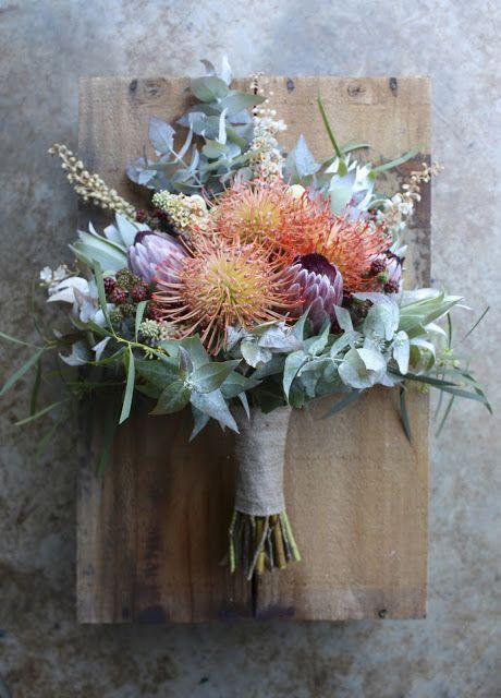 Peachy February Wedding at Port Arthur - Wildflower, Australian Native and Berry bouquet with texture by Swallows Nest Farm Tasmania