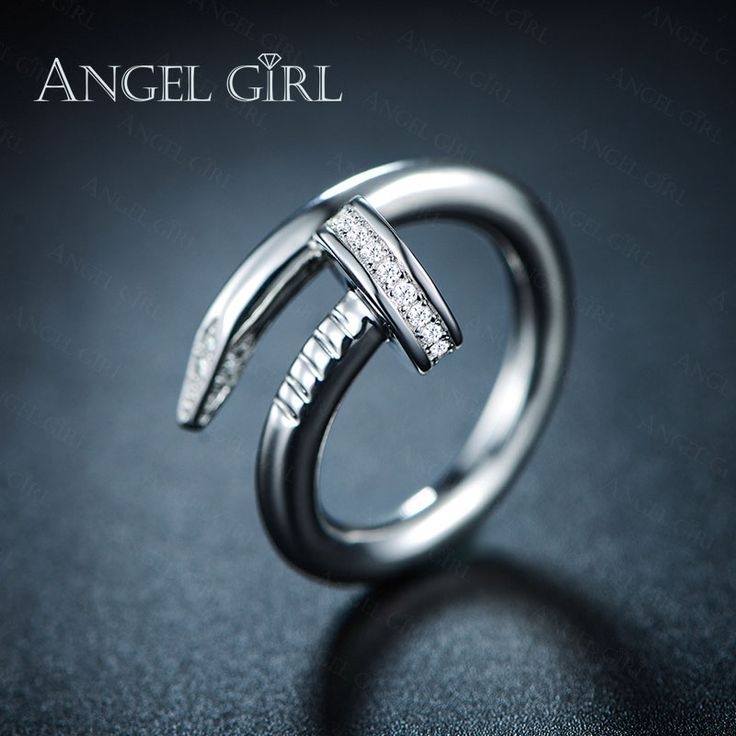 Angel Girl Gift   AAA+ CZ  White Gold Plated wedding ring Engagement Women Rings the exaggerated nail ring R25-60711