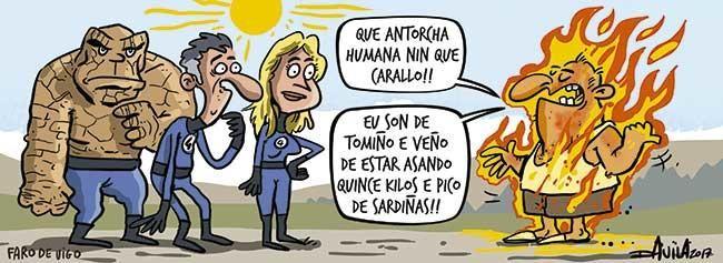 Ola de calor de más de 40º en Galicia. Viñeta de Luis Davila (O Bichero) el 18/06/2017 en el Faro de Vigo