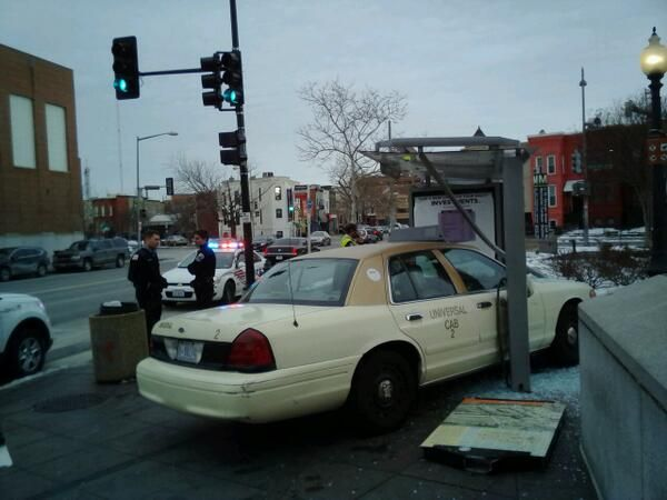 """Gotta wonder how that happened - """"Taxi Jumps Curb Crashes into Bus Shelter by U Street Metro"""" courtesy @waynemancomedy & popville.com"""