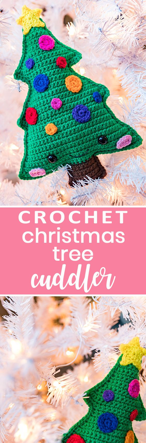 Crochet this quick and cute kawaii cuddler christmas tree for holiday gifts and decor! Free pattern