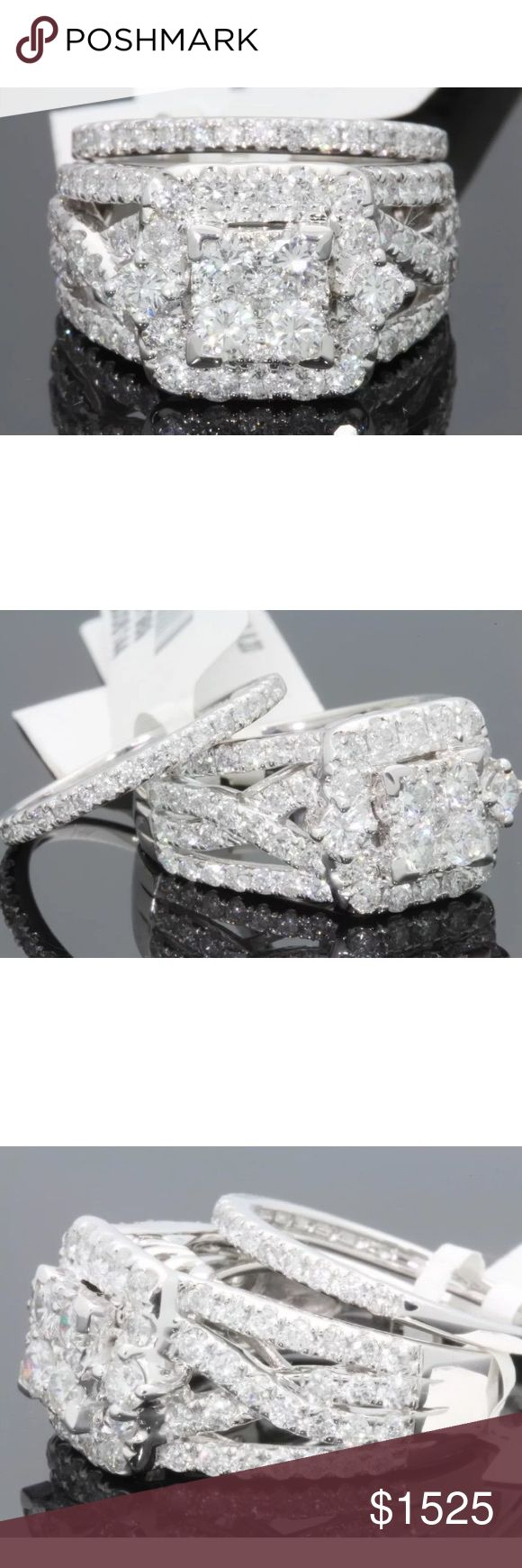 3.05 carat 10k white gold diamond ring set 3.05 carat 10k white gold diamond ring set! High quality diamonds! Lots of sparkle! Retail over $7000!!! Jewelry Rings