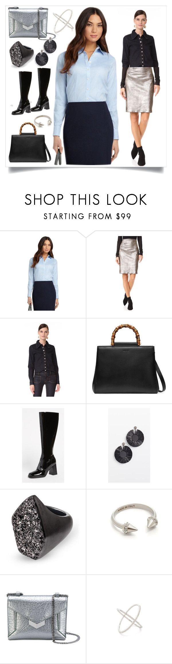 """""""French Cuff Dress Shirt..**"""" by purnima0309 ❤ liked on Polyvore featuring Brooks Brothers, ThePerfext, STELLA McCARTNEY, Gucci, Marc Jacobs, Oscar de la Renta, Kendra Scott, Vita Fede, Jimmy Choo and EF Collection"""
