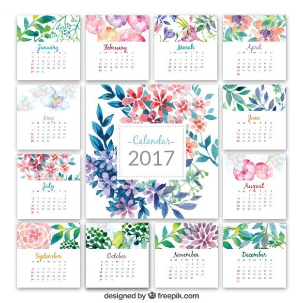 Calendario de 2017 con flores de acuarela Vector Gratis