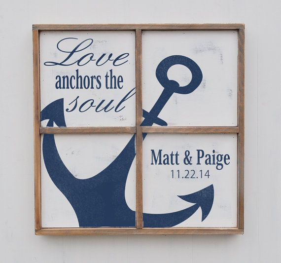 Love anchors the soul is an all wood sign that is a hand painted navy achor design on a cream background. Its trimmed out in weathered wood and
