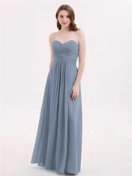 ffafa35b2438 Dusty Blue Camille V-neck Full Length Chiffon Dress with Pleated Bodice |  BABARONI