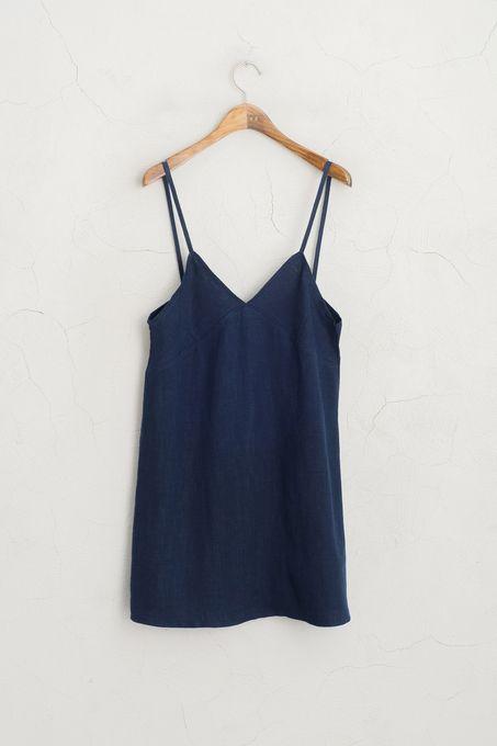 Linen Strappy Dress, Navy,