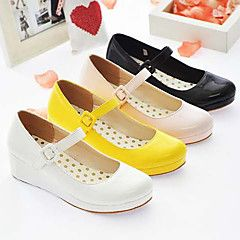 Lolita+Shoes+Sweet+Lolita+Princess+Wedge+Heel+Shoes+Solid+3+CM+White+/+Black+/+Pink+/+Yellow+For+Women+PU+Leather/Polyurethane+Leather+–+USD+$+29.99