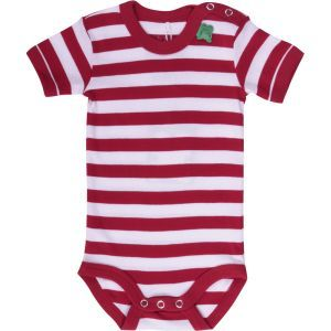 Organic cotton red and white striped bodysuit