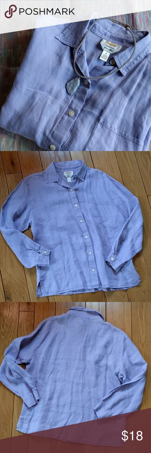 """VTG Irish Linen Talbots button down shirt Beautiful periwinkle blue color Irish linen.  Vintage 1990s Talbots shirt.  In great condition, no tears or stains.  Color closest to the last picture, close up of the pocket.  Measures 21"""" flat across under the armpits, 25"""" length.  100% Irish linen. Vintage Tops Button Down Shirts"""