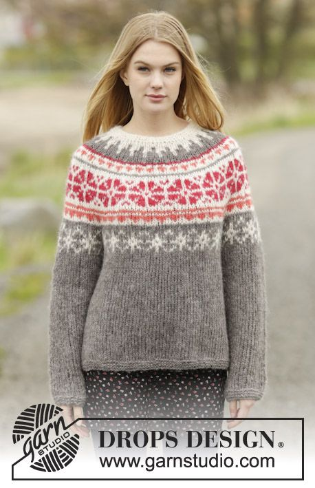 #knit Jumper with round yoke and Nordic pattern. New pattern online for free by #DROPSDesign