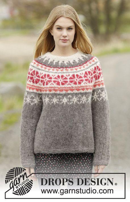 """Gebreide DROPS trui met ronde pas en Noors patroon, wordt van boven naar beneden van 2 draden """"Brushed Alpaca Silk"""" of 1 draad """"Melody"""". Maat: S - XXXL. ~ DROPS Design"""