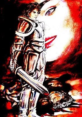 """""""Scena n. 8. L'incubo del cavaliere"""".    Un uomo avanza uscendo dal buio, vestito come un cavaliere di altra epoca. Il suo passo è deciso, lo sguardo fermo si appunta lontano, proprio laggiù dove le colline dai fianchi morbidi svaporano nel grigio di una leggera foschia. Si ferma, resta immobile nella sua posizione sotto alle luci del palco, i suoi occhi non accennano ad alcun tentennamento.... (di Bruno Magnolfi - illustrazione di Giulia Tesoro)."""