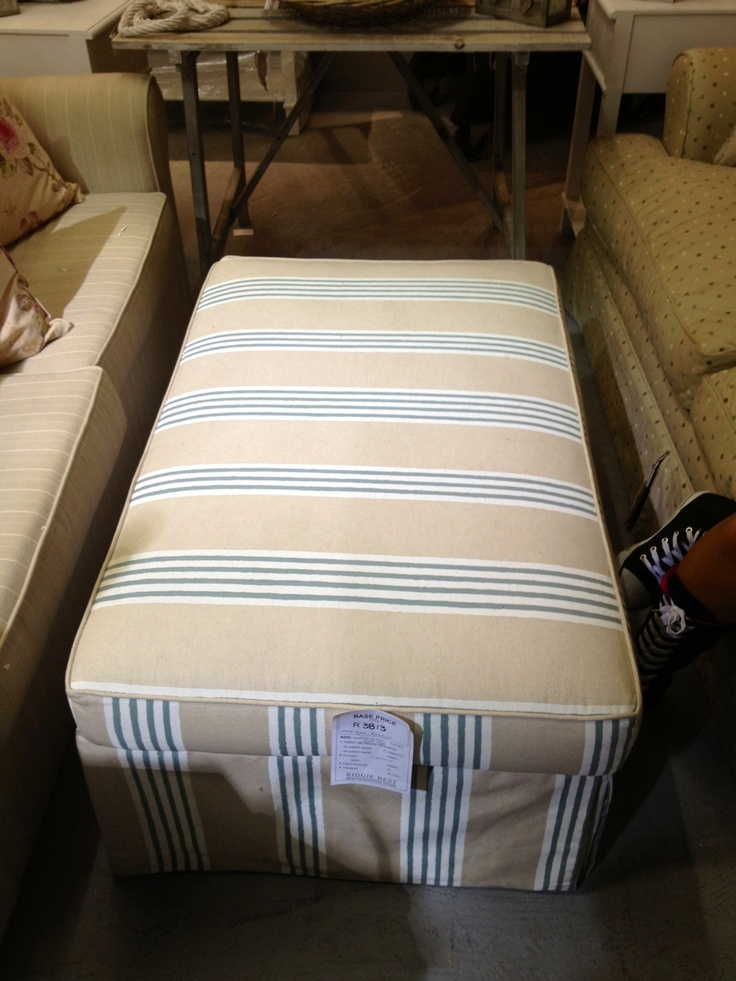 The winning white & blue strip & on cream patten. This is what I have chosen to recover my wing backs in. This is the otter man that I am getting too. Biggy best @ design quarter.
