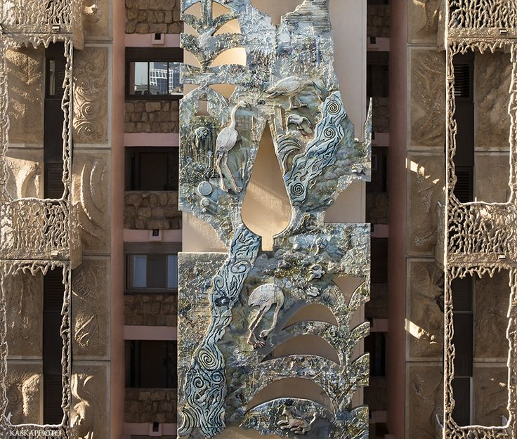 "The ""Crazy House"" in Tel Aviv The paintings and sculptures on the facade of the building view from the Hayarkon Street.    Photo by Kaśka Sikora   #TelAviv  #building #Gaudi"