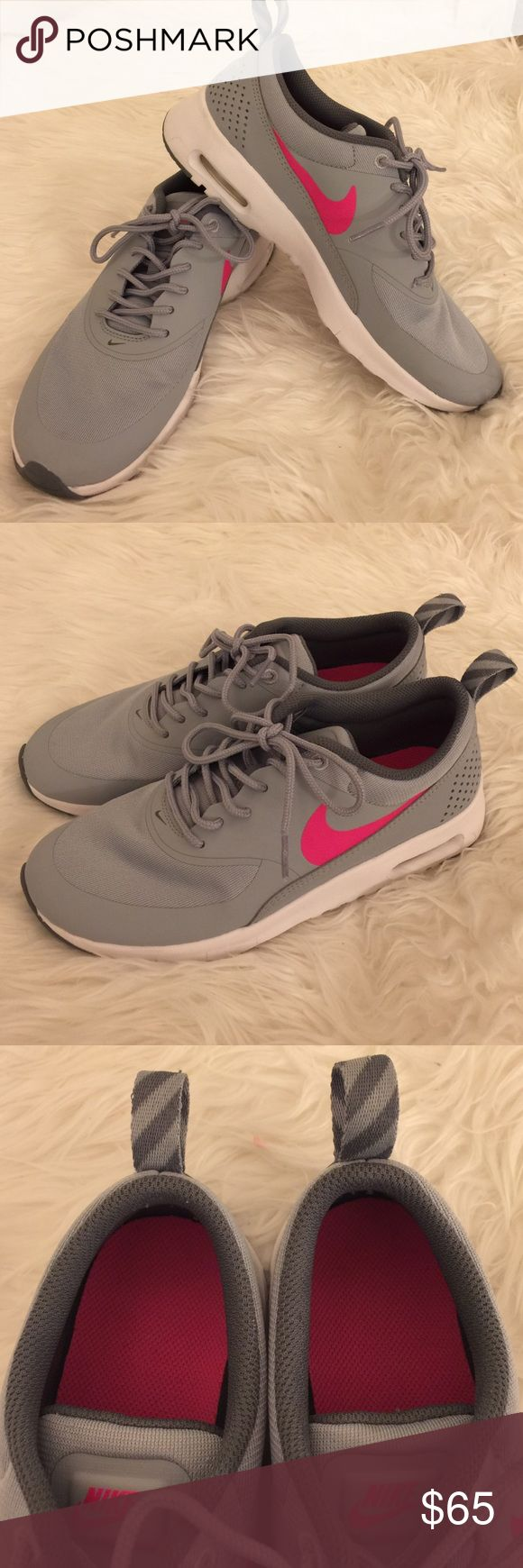 Nike Air Max Thea Sneakers Cutest and most comfortable sneakers! Light grey leather-like material and mesh with hot pink detailing. In great condition! Only worn once. Size 5.5Y which converts to a Women's size 7. Nike Shoes Athletic Shoes