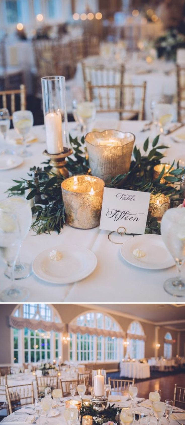 Create an elegant feel at your wedding reception with table decorations consisting of mercury glass candle holders paired with greenery instead of flowers. See more from this glamorous wedding here: http://www.beaconln.com/blog/kelsey-andrew-real-wedding/