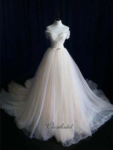 A-line Tulle Wedding Dresses, Custom Design Wedding Dresses, Cheap Bridal Gowns