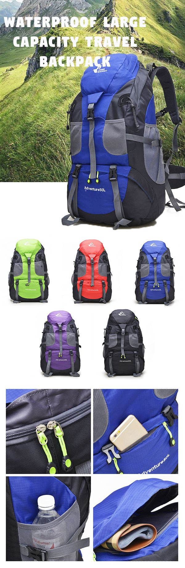 US$31.06 Outdoor Travel Backpack For Men Women_50L Waterproof Polyester Large Capacity  BAG
