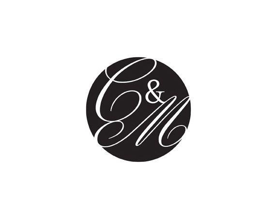 Modern Classy Wedding Monogram Logo, black and white, circle, simple, clean, elegant, sophisticated, script