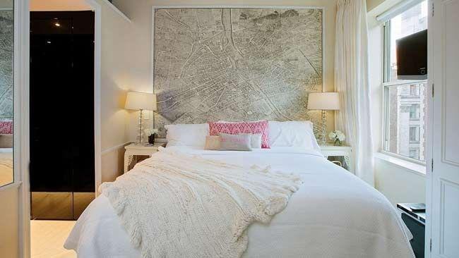 map bedhead in Miranda Kerr's Manhattan apartment