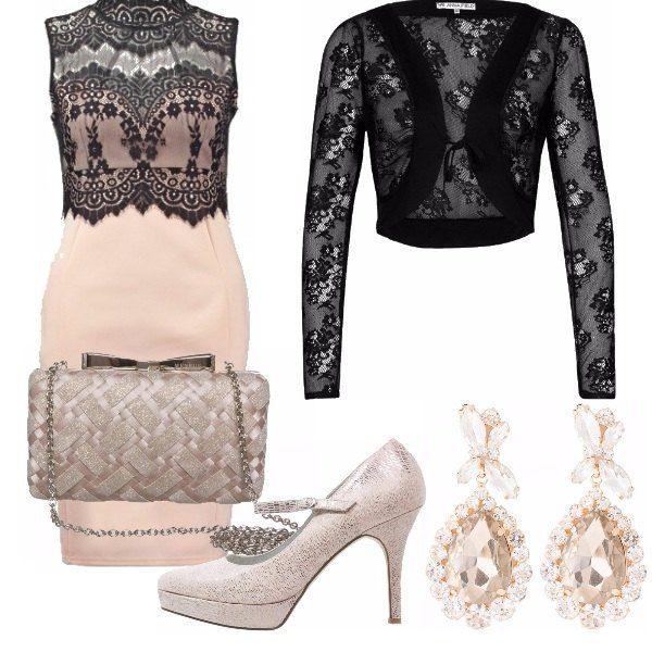 Tubino black, nude, blazer black, pochette blaze rassomigliante a un color bronzo chiaro, decollete nude , orecchini gold, adatto a una serata elegante o da cerimonia!