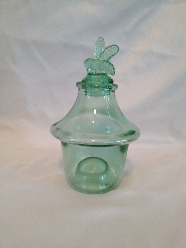 Vintage green glass bee catcher by InTimeBeachFinds on Etsy https://www.etsy.com/listing/210995623/vintage-green-glass-bee-catcher