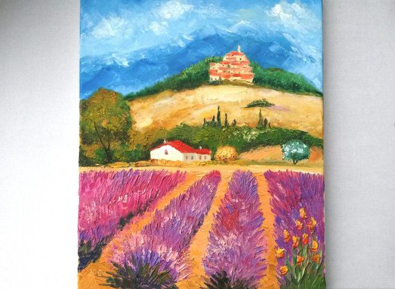 lavender provence french painting original oil by JuliaFoxPainting