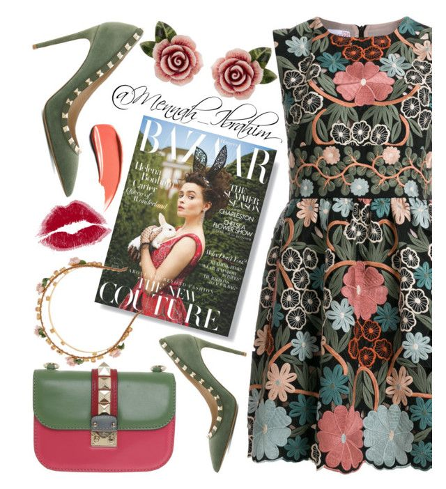 """""""#flowery #feminine #Dolce&Gabbana"""" by mennah-ibrahim on Polyvore featuring RED Valentino, Valentino and Dolce&Gabbana"""