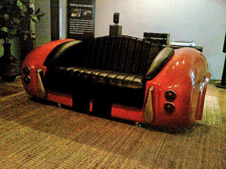 AC Cobra sofa collectors item. The scale 1:1 rear of the real ac cobra sport car with working lights and chrome mirror finish bumpers. One of a kind and very rare. Good quality with 100% genuine leather 2 seater