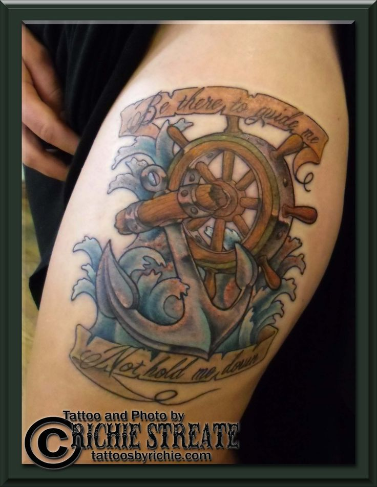 Traditional anchor and ships wheel tattoo well maybe a for Anchor and wheel tattoo