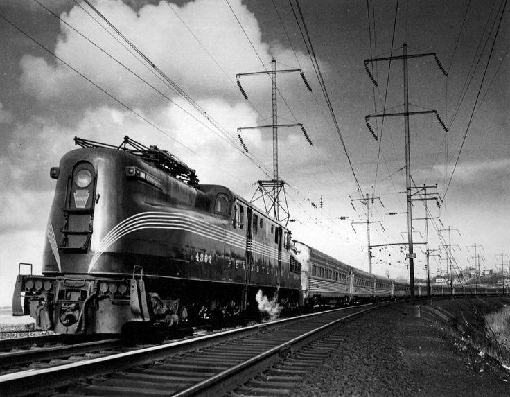 Pennsylvania Railroad GG1 No. 4868 electric locomotive, pulling 'The Congressional' in 1965