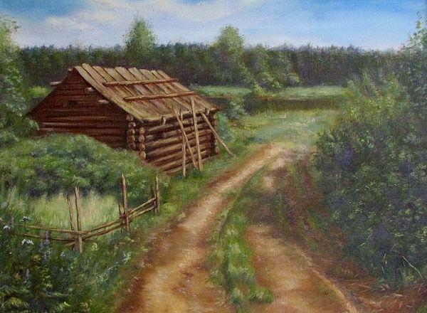 #Forestroad, #theroad, #sauna, #wood, #summer, #summerlandscape, #footpath, #bushes, #grass, #flowers, #sun, #Russianartist, #Russianart, #painting, #landscape, #Russian, #AnnaShurakova