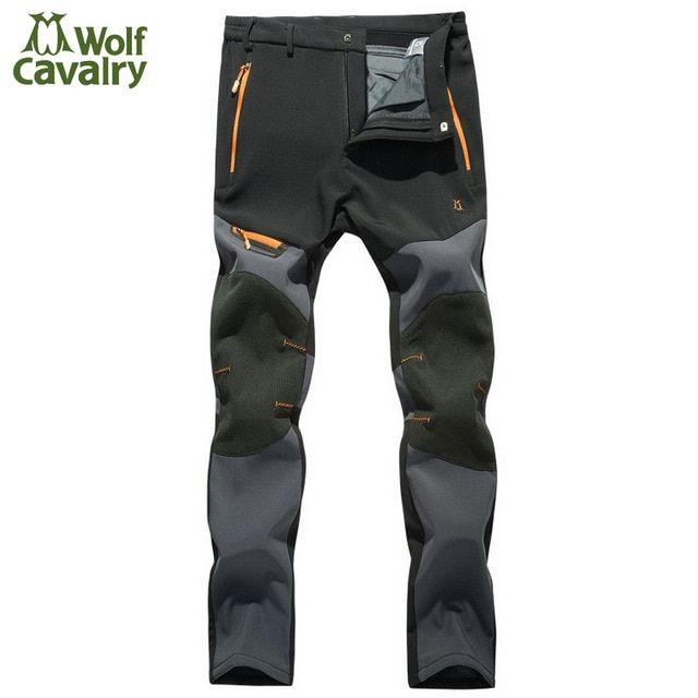 Cavalrywalf Winter Warm Fleece Softshell Pants Men Climbing Camping Hiking Trousers Waterproof Windproof Outdoor Pants Waterproof Pants Waterproof Hiking Pants