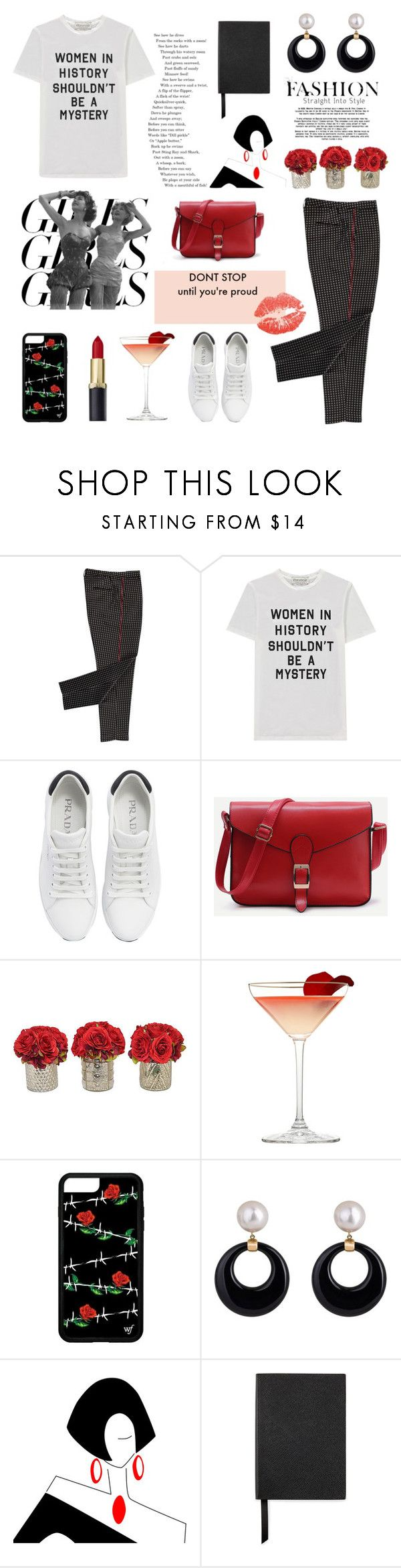 """""""Girl Pride Day Everyday"""" by maryam-96-1 ❤ liked on Polyvore featuring Être Cécile, Prada, The French Bee, Smythson, womensHistoryMonth, pressforprogress and GirlPride"""