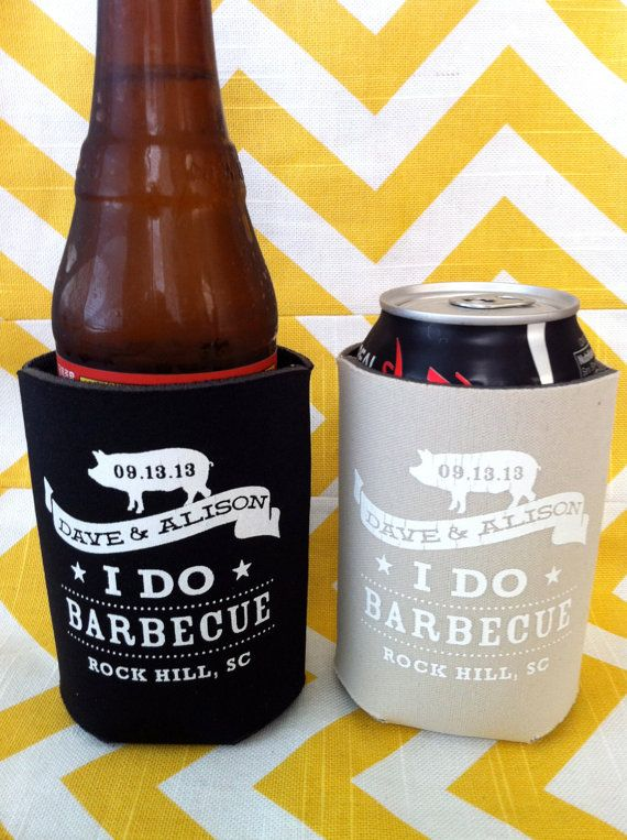 I Do BBQ Engagement Party and Wedding Koozies by RookDesignCo