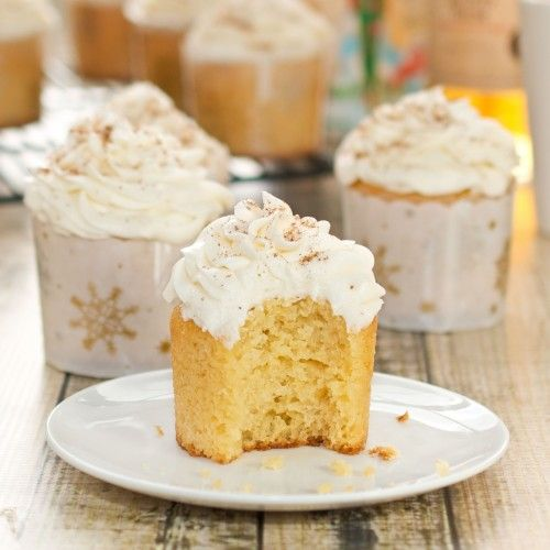 Eggnog Cupcakes with Rum-Infused Frosting   $100 Holiday Baking Giveaway