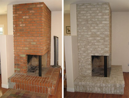 Collecting photos of white washed painted red brick fireplaces interested in painting mine for Interior brick wall paint ideas