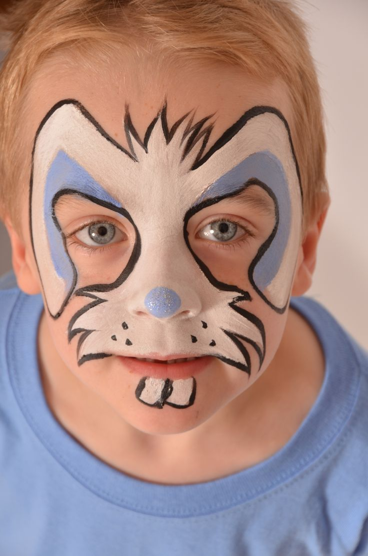 Funny face painting for kids creative art and craft ideas - Boys Easter Rabbit Face Paint Snazaroo Facepaint Easter