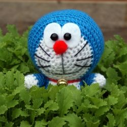 Crocheted all-time favourite Japanese Anime character Doraemon - with step-by-step assemble instructions.
